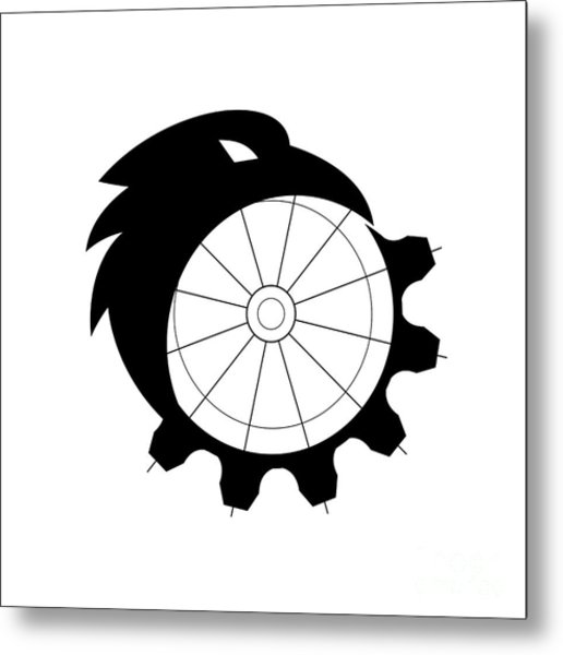 Raven Merging To Cog Icon Metal Print