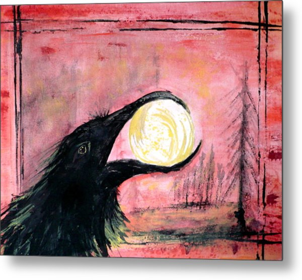 Metal Print featuring the painting Raven Steals The Sun by 'REA' Gallery