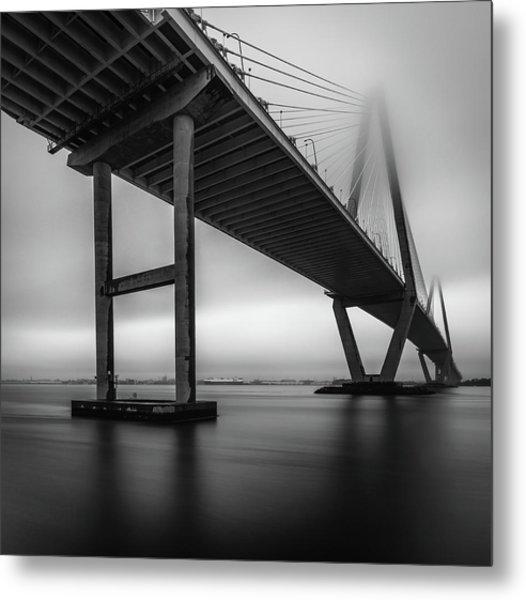Ravenel Bridge November Fog Metal Print