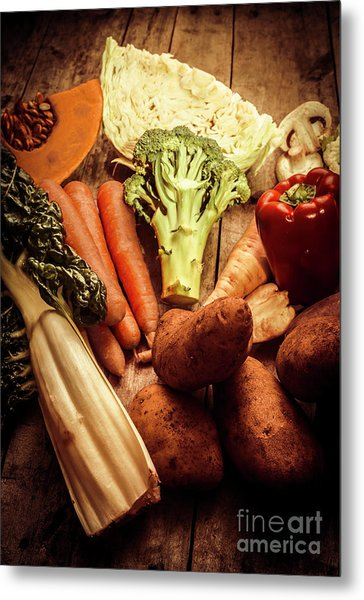Raw Vegetables On Wooden Background Metal Print