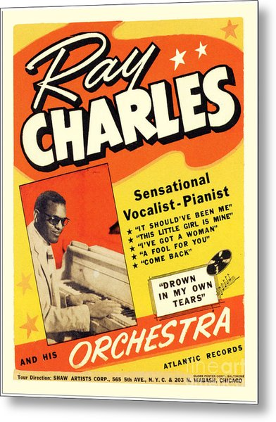 Ray Charles Rock N Roll Concert Poster 1950s Metal Print