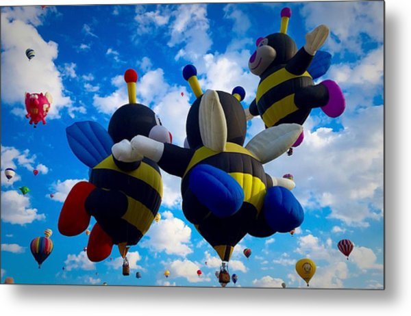 Hot Air Balloon Cheerleaders Metal Print
