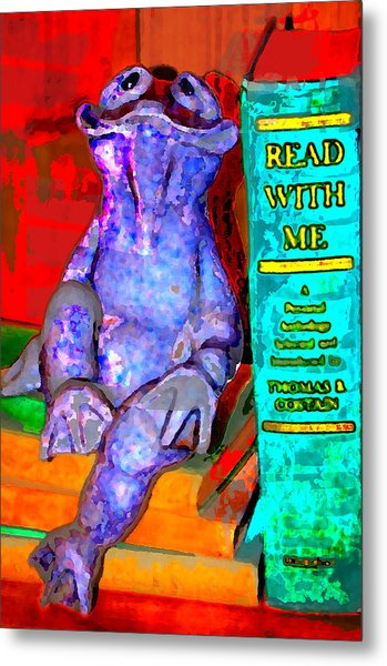 Read With Me Frog Metal Print by Danielle Stephenson