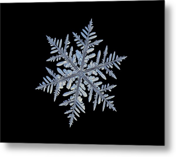 Real Snowflake - Silverware Black Metal Print