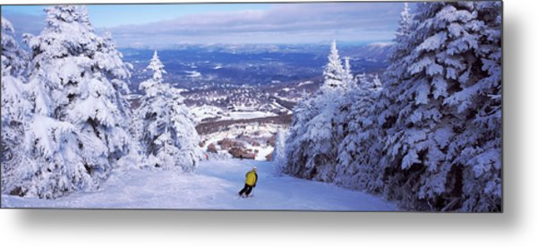 Rear View Of A Person Skiing, Stratton Metal Print