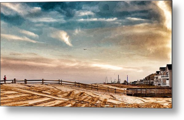 Rebuilding The Ortley Dunes  Metal Print by Vincent DeLucia