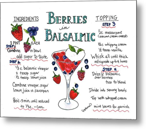 Recipe- Berries In Balsamic Metal Print