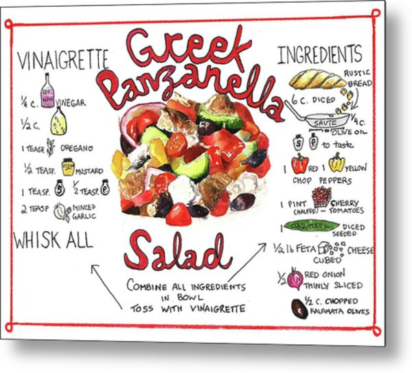 Recipe- Panzanella Salad Metal Print