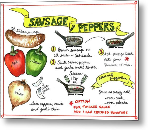 Recipe Sausage And Peppers Metal Print