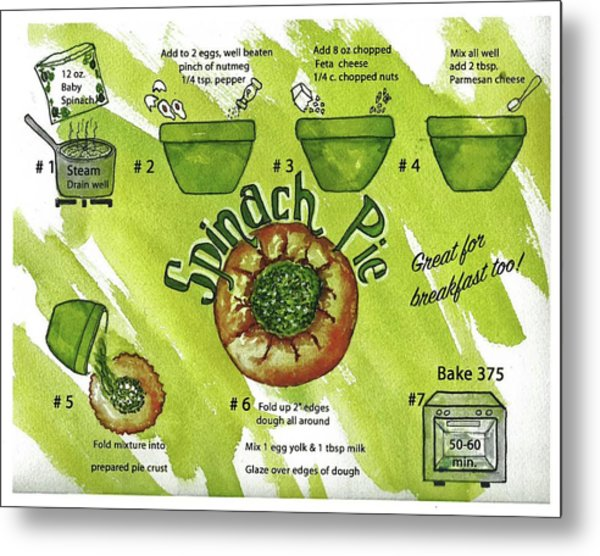 Recipe-spinach Pie Metal Print