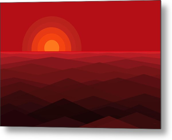 Red Abstract Sunset Metal Print