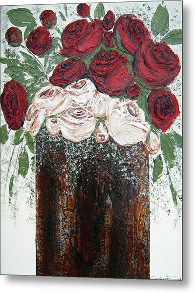 Red And Antique White Roses - Original Artwork Metal Print