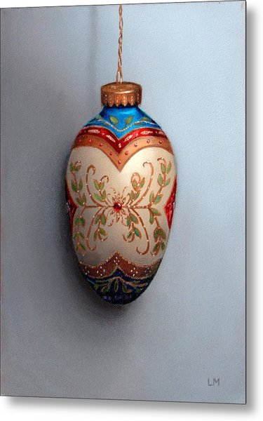 Red And Blue Filigree Egg Ornament Metal Print
