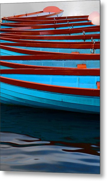 Red And Blue Paddle Boats Metal Print