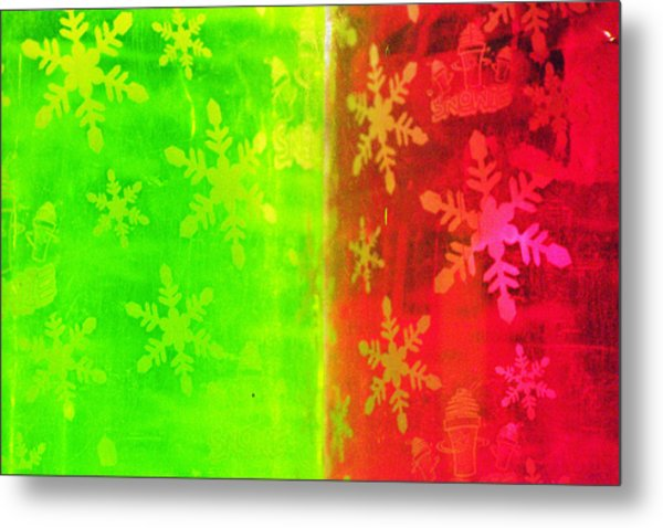Red And Green With A Snowflake Pattern Metal Print by Richard Henne