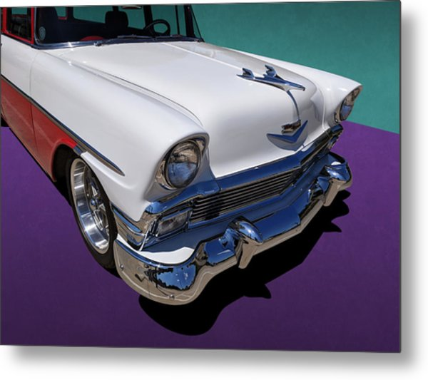 Red And White 1950s Chevrolet Wagon Metal Print