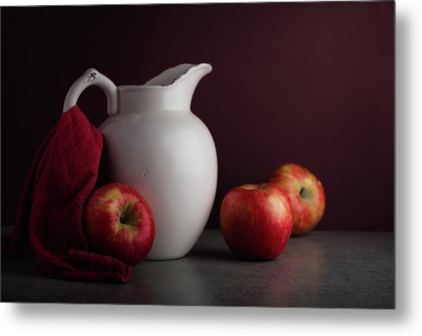Red And White Apple Still Life Metal Print