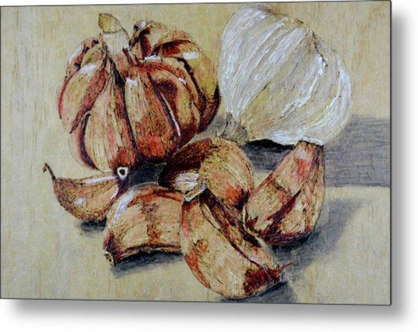 Red And White Garlic Metal Print