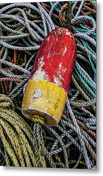 Red And Yellow Buoy Metal Print