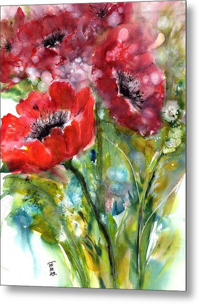 Red Anemone Flowers Metal Print