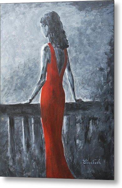 Red Balcony Dress Metal Print by Beth Maddox