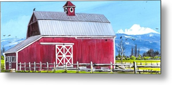 Red Barn And Mt Baker Metal Print by Bob Patterson