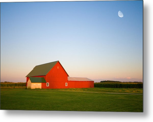 Red Barn And The Moon Metal Print