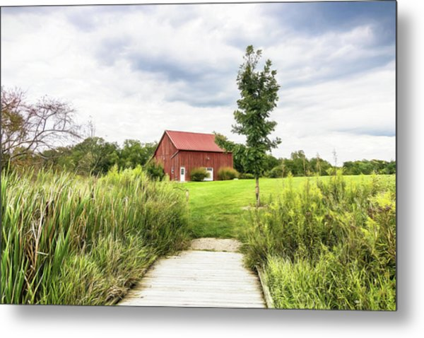 Red Barn At Dawes Arboretum Metal Print