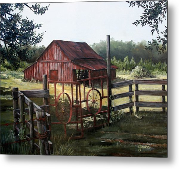 Red Barn At Sunrise Metal Print
