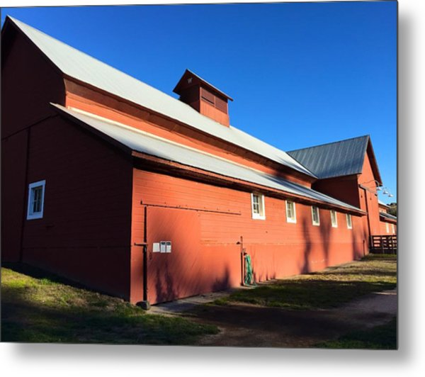 Red Barn, Blue Sky Metal Print