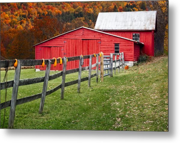 Red Barn In Autumn - Metal Print