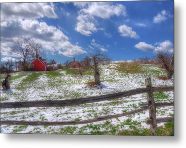 Red Barn In Snow - New Hampshire Metal Print