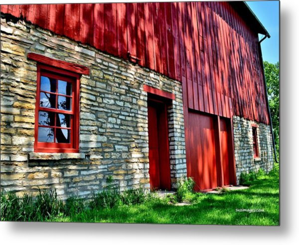 Red Barn In The Shade Metal Print