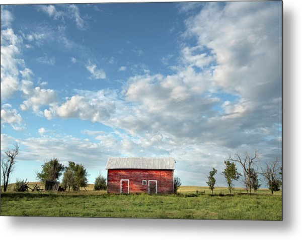 Red Barn On The Prairie Metal Print