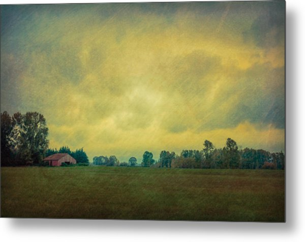 Red Barn Under Stormy Skies Metal Print