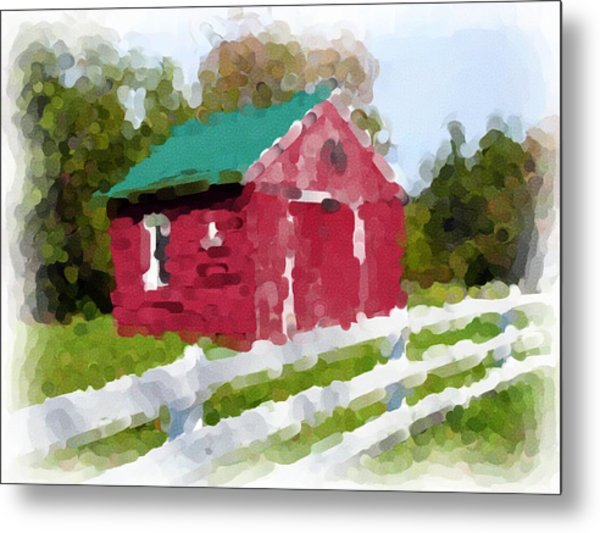 Red Barn Vermont Watercolor Metal Print by Ralph Liebstein