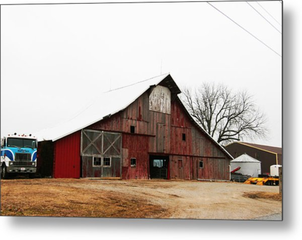 Red Barn W Blue Truck 2 Metal Print by Mike Loudermilk