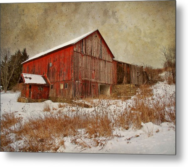 Red Barn White Snow Metal Print