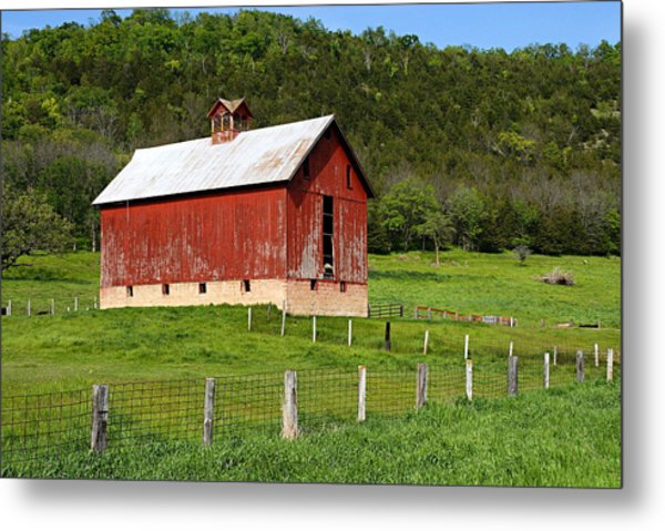 Red Barn With Cupola Metal Print