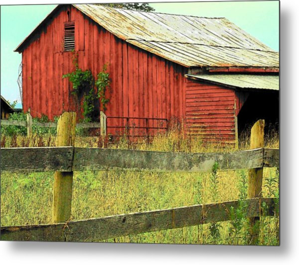 Red Barn With Vines Metal Print by Michael L Kimble