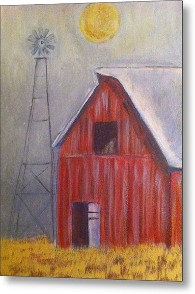 Red Barn With Windmill Metal Print