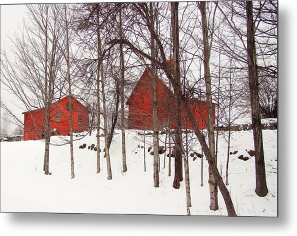 Red Barns Metal Print