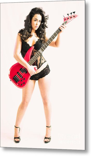 Red Bass Guitar Metal Print