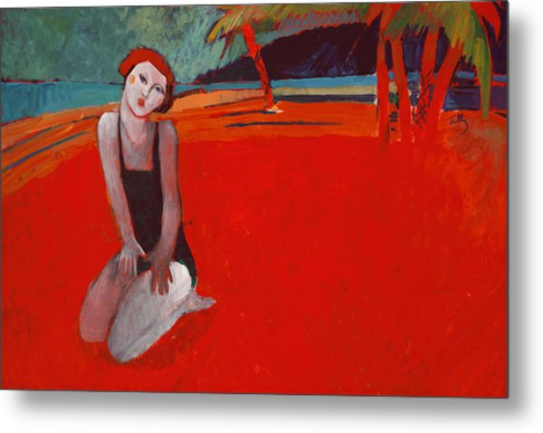 Red Beach Two Metal Print