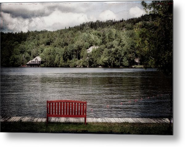 Red Bench Metal Print