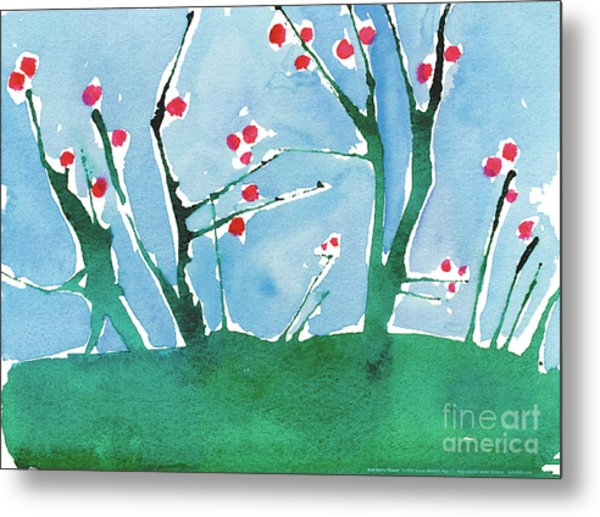 Red Berry Flowers Metal Print