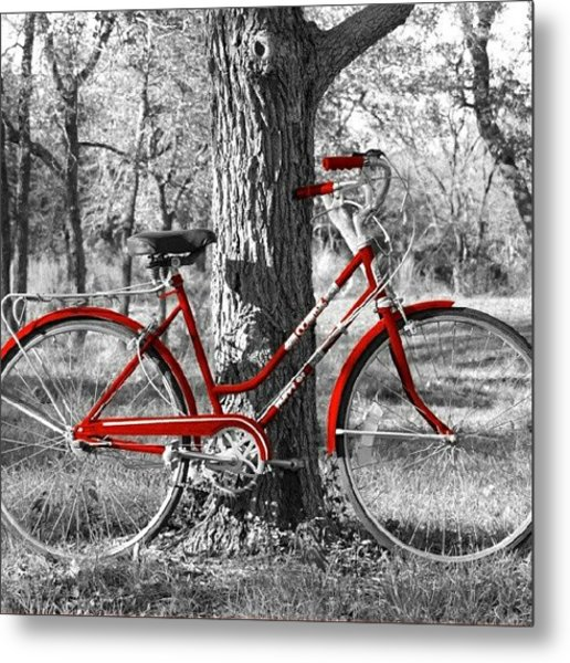 Red Bicycle II Metal Print