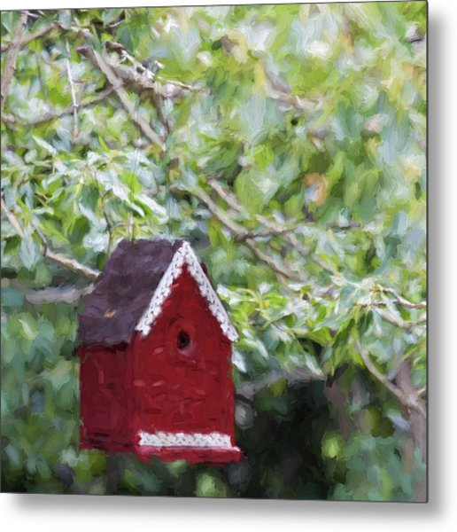 Red Birdhouse Painterly Effect Metal Print