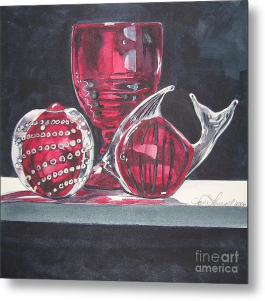 Red Black And Clear Metal Print