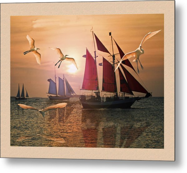 Red  Blue And White Sails At Sunset  Metal Print by John Breen
